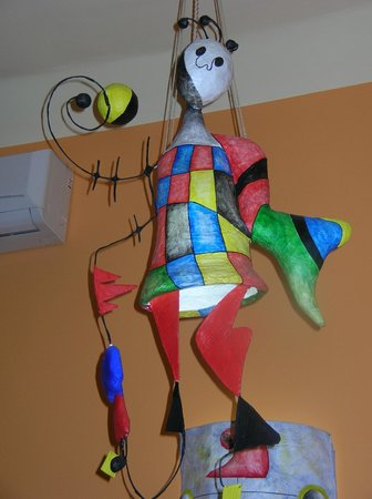 Trattoria Miro: One of the papier mache light shades based on Miro's work