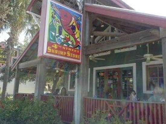 Fourth Street Shrimp Store: out front dining covered porch with ceiling fans