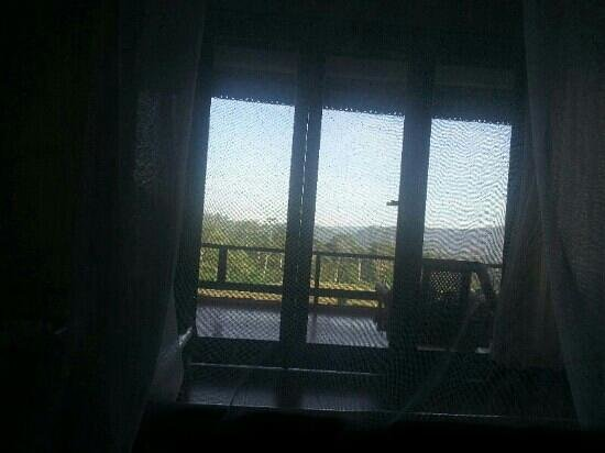 Great Mountain Views Villa Resort: Morning view.  From within the mosquito net.