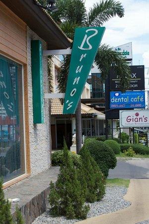 Bruno's Restaurant & Wine Bar : Outdoor sign.