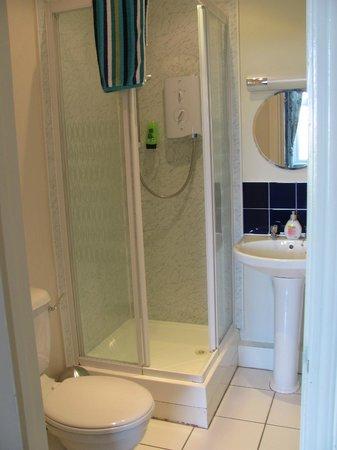 P and J Hotel : Room 17, ensuite bathroom (very narrow shower door opening)