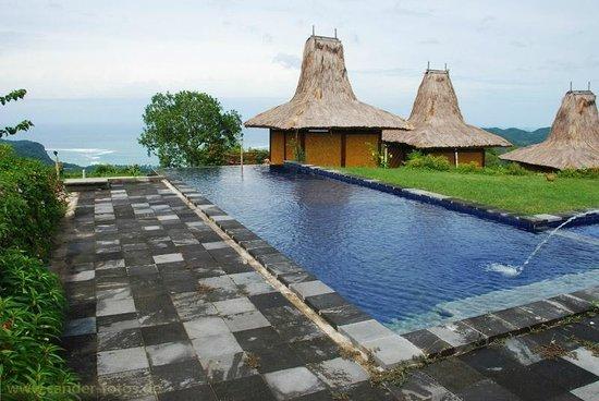 Peter's Magic Paradise: Pool, weiter hinten Blick auf die Bucht von Tarimbang