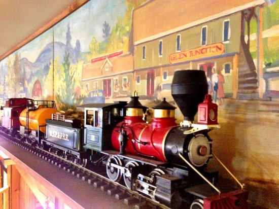 Glen Junction: Check Out Our THREE Trains Traveling Around Our Ceiling Mural!