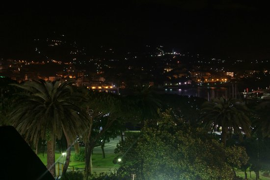 Hotel Giulio Cesare : Night view on Rapallo harbour and marina from the terrace