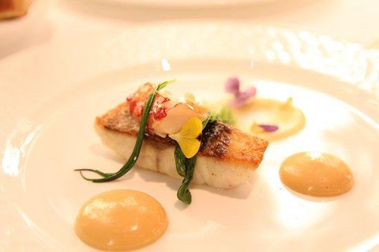 Wild caught sea bass, lobster, smoked potato puree (66874873)