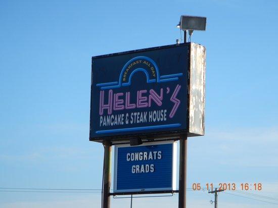 Helen's Pancake & Steak House: road sign