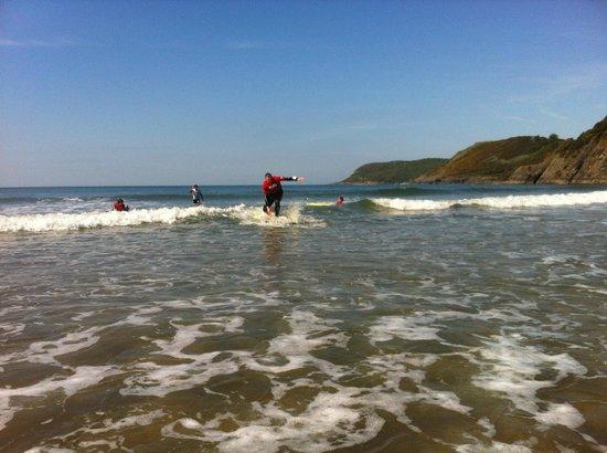 Gower Surfing School: Dad surfing the waves :)