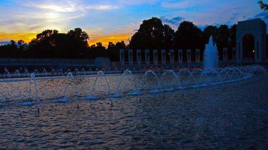 National World War II Memorial: WW2 memorial at sunset (atlantic end)