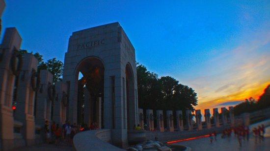 National World War II Memorial: WW2 memorial at sunset (pacific end)