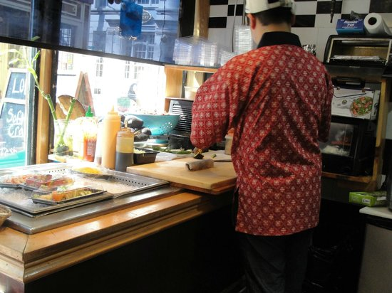 Boston Foodie Tours: Sushi being made fresh at North End Fish Market