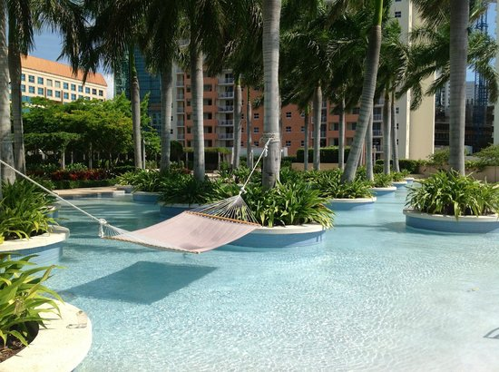 Four Seasons Hotel Miami: Palm-lined wading pool and hammock.