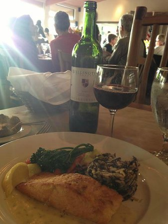 Rancho Cielo: Salmon with wild rice and sauteed vegetables