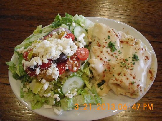 259 Home Market Bistro: Chicken & Mushroom Crepes with a Greek Salad