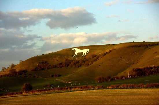 Westbury, UK : The white horse from the highway