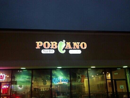 Poblano Pepper Grill: night sign