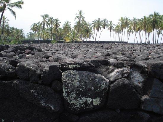 Pu'uhonua O Honaunau National Historical Park: ヘイアウ、こんなにたくさんの溶岩石を平に積むのは大変!