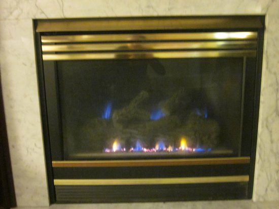 Hampton Inn Scranton at Montage Mountain: The cozy gas fireplace--lit up