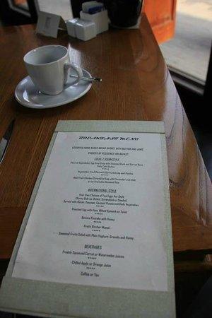 Jing's Residence: breakfast menu