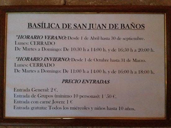 Church of San Juan Bautista, Banos de Cerrato: Times and Prices