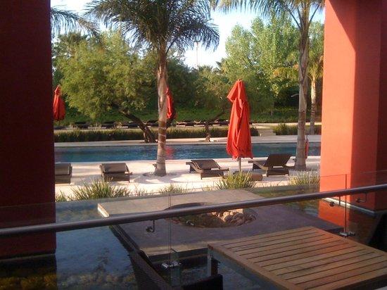 Aguascalientes Marriott Hotel: Hermosa vista de la piscina desde la terraza exterior del lobby.