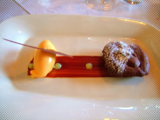 "Watermill Lodge: Chocolate Brownie, ""Watermill"" Apricot Sorbet, After Eight Coulis"