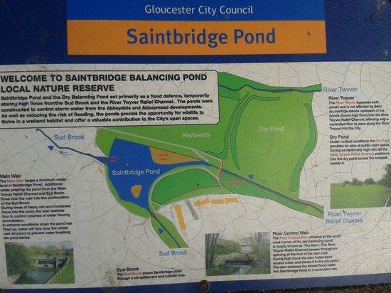 Saintbridge Balancing Pond: Info board.