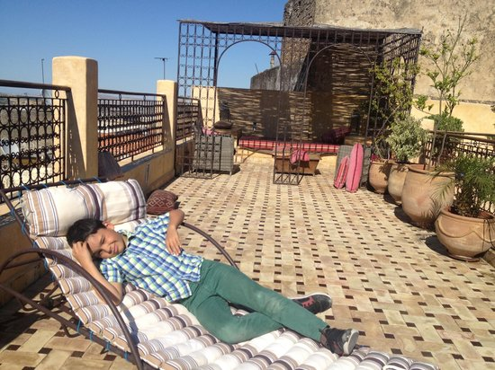 Ryad 53: Ben on the roof terrace