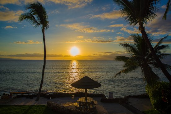 Kaleialoha Condominiums: View from condo at sunset- unit # 215