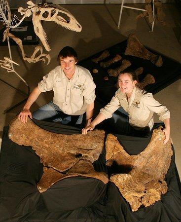 "Australian Age of Dinosaurs: Museum staff with sauropod hip bones from ""Matilda"""