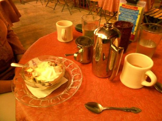 Mayfel's: bread pudding and french press coffee