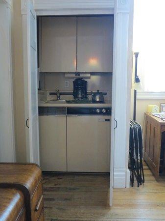 Nobody's Inn: Anybody's Room kitchen closet, full size coffee maker