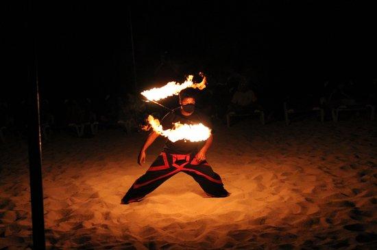 Allegro Cozumel: Fire dancers - beach fire show.