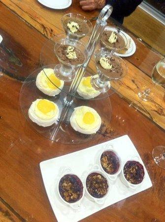 "Photo: ""Pavlova with lemon curd, raspberry crisp, chocolate mousse ..."