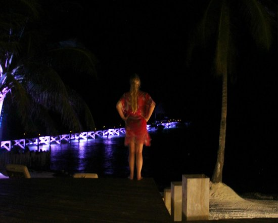 El Secreto: Looking at the lighted pier from the restaurant deck area