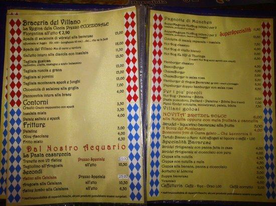 I Villani: il menu