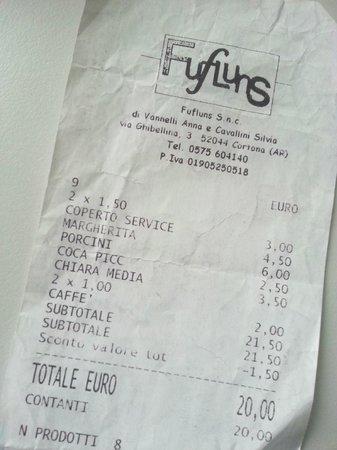 Pizzeria Fufluns: Scontrino del Fufluns, Cortona