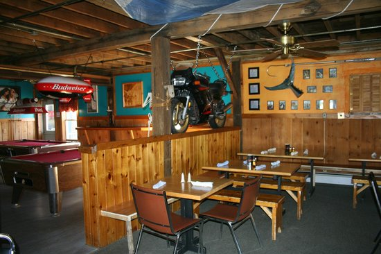 The Funky Red Barn: Restaurant and pool tables with Blue fin tuna tail.