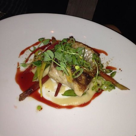 Colicchio & Sons Tap Room: Loup De Mer with Carrots, Soubise & Snap Pea Slaw