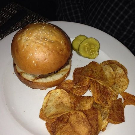Colicchio & Sons Tap Room: TC Burger with pecorino, drunken onions and chips
