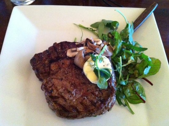 The Dining Room: Ribeye steak for main