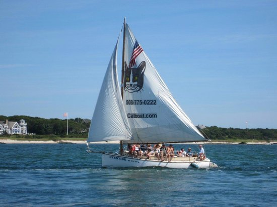 Catboat Rides: Entering Hyannis channel off Kalmus Beach with Great Island in background