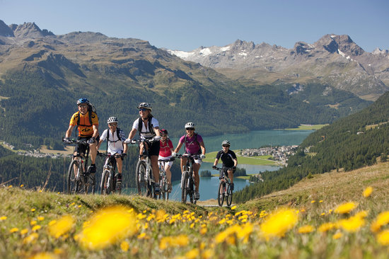 Group of bikers near Engadin St. Moritz