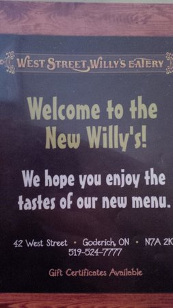 West Street Willy's Eatery : menu cover