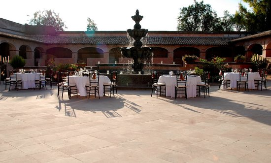 Hacienda Las Trancas: Huge Stone Fountain and Outdoor dining Option