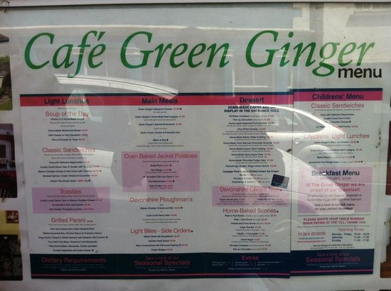 Cafe Green Ginger: menu
