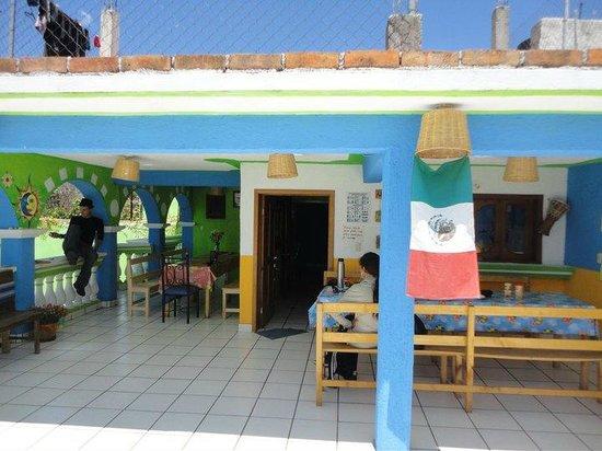 Iguana Hostel: zona al aire libre para interactuar, comer y desayunar