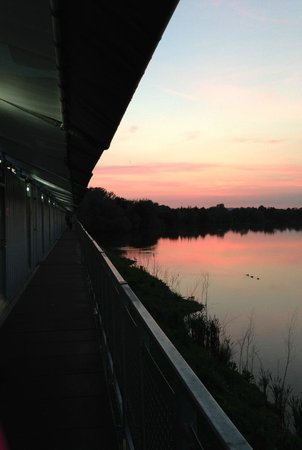 THORPE SHARK Hotel: Rows of rooms overlooking lake at sunset!
