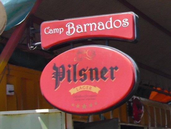 Camp Barnados Restaurant: Branding sign at our entrance.