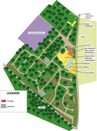 Domaine les Chênes Blancs : Le plan du camping