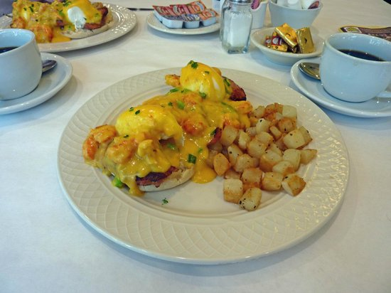 Cafe at the Square: Andouille Sausage Benedict  Andouille Sausage, Poached Eggs, Crawfish & Hollandaise, English Muf